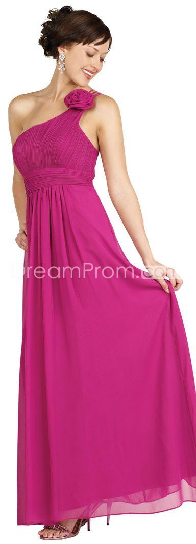 Chic Crimson Empire One-Shoulder Floor-Length Chiffon Evening Dresses
