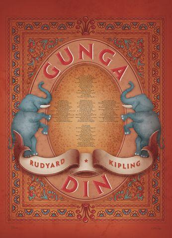 007 Poems Rudyard Kipling, Gunga Din poem poster