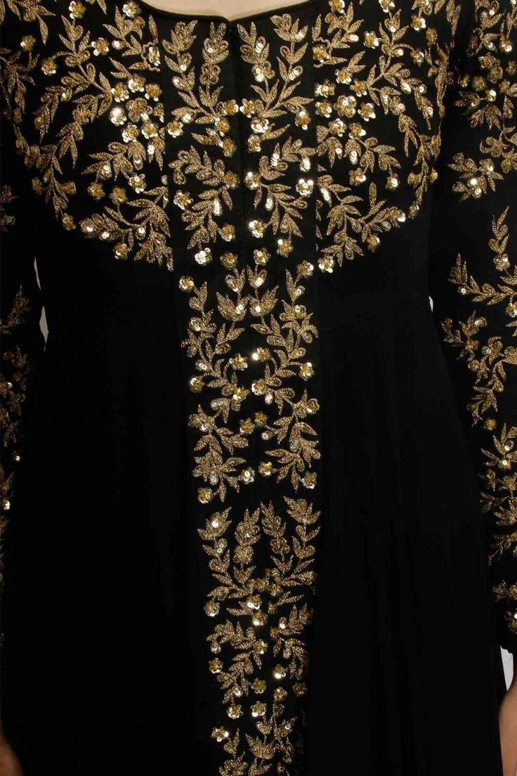 Black embellished long jacket with black inner gown available only at Pernia's Pop Up Shop.