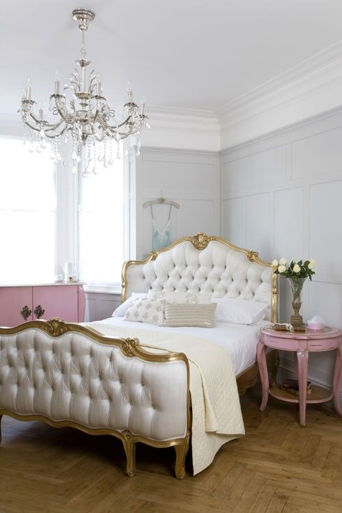 The Willows Shell Carved bed, finished in elegant soft gold, is the epitome of French boudoir chic.