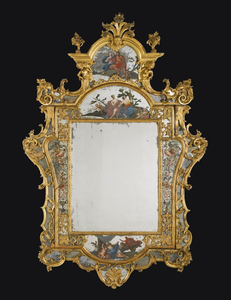 An Italian carved giltwood and reverse painting on glass mirror, Venetian, second quarter 18th century.