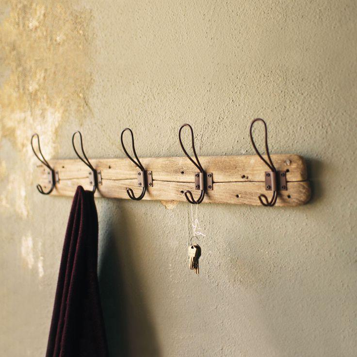 Recycled Wood Coat Rack with Hooks | dotandbo.com