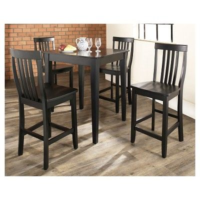 5 Piece Pub Dining Set with Tapered Leg and School House Stools - Black Finish - Crosley