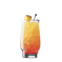 Sunset: 1.5 oz. Captain Morgan Parrot Bay® Coconut, 4 oz. orange juice, 1 oz. cranberry juice, 1 slice(s) pineapple(s)