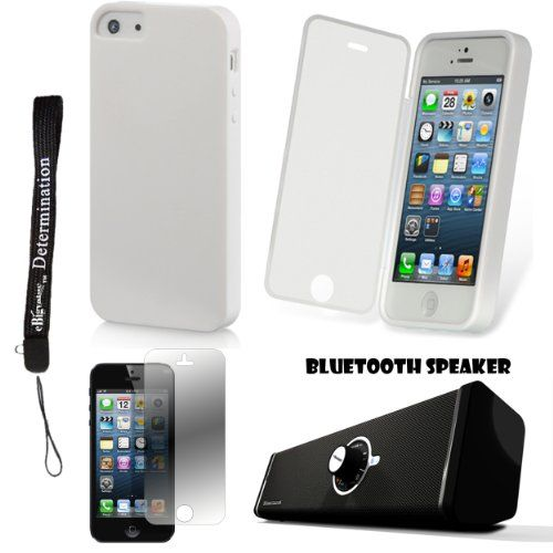 Durable Protective TPU Skin with Built-In Screen Guard For Apple iPhone 5 iOS (6) Smart Phone + Bluetooth Speaker + Screen Protector Personalize your iPhone 5 with this TPU Skin Cover. Case Features a Built in Screen Protector to protect your phone from dust and scratches. Includes a Supertooth Disco Bluetooth Speaker with AUX Cable. Includes Apple iPhone 5 Screen Guard. Includes an eBigValue (TM)... #EBigValue #Wireless