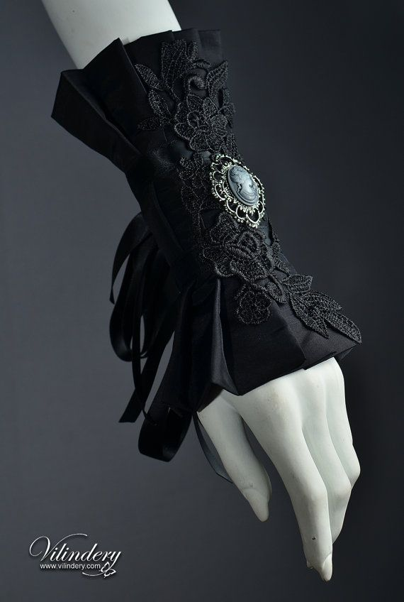 Beautiful Gothic Victorian Cuff Bracelet with lady cameo, Lolita Vampire Style, Dark Fashion, Elegant Goth Wedding Jewelry, Black Accessories https://www.etsy.com/shop/Vilindery
