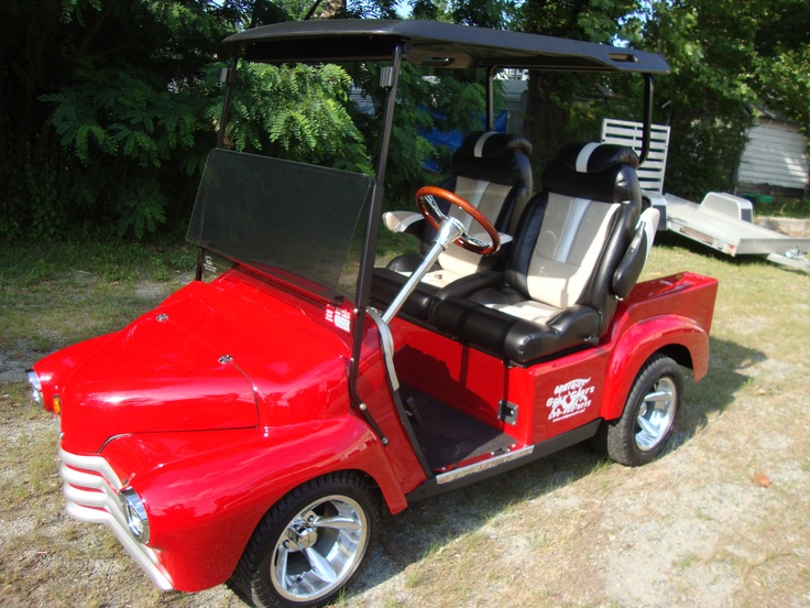 custom golf cart 48 chevy truck on a 2009 ez go frame torch red 4 wheel disk brakes bucket seats high speed gears 26 mph