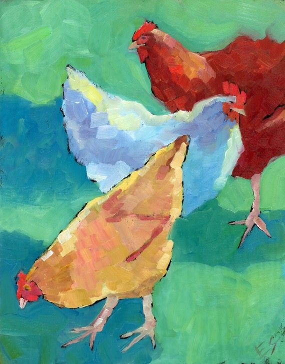 Love this painting of hens