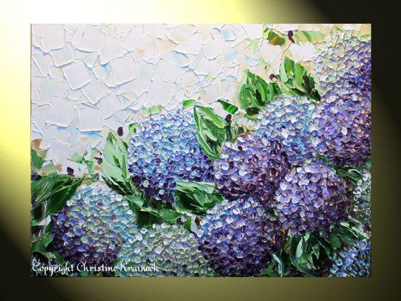 Artículos similares a GICLEE PRINT Art Abstract Painting Hydrangea Purple Flowers Canvas Prints Modern Palette Knife Floral Lavender White Choose SIZE -Christine en Etsy