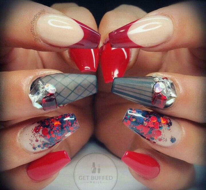 Kırmızı mavi jel tırnak gel nail design red and blue diamond