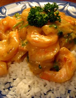 Rice and Curried Prawns or Shrimp