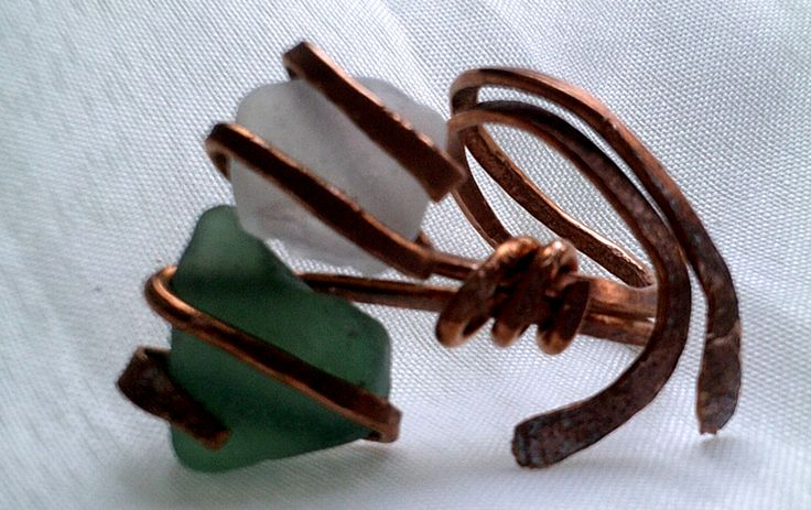 ring copper and seaglass