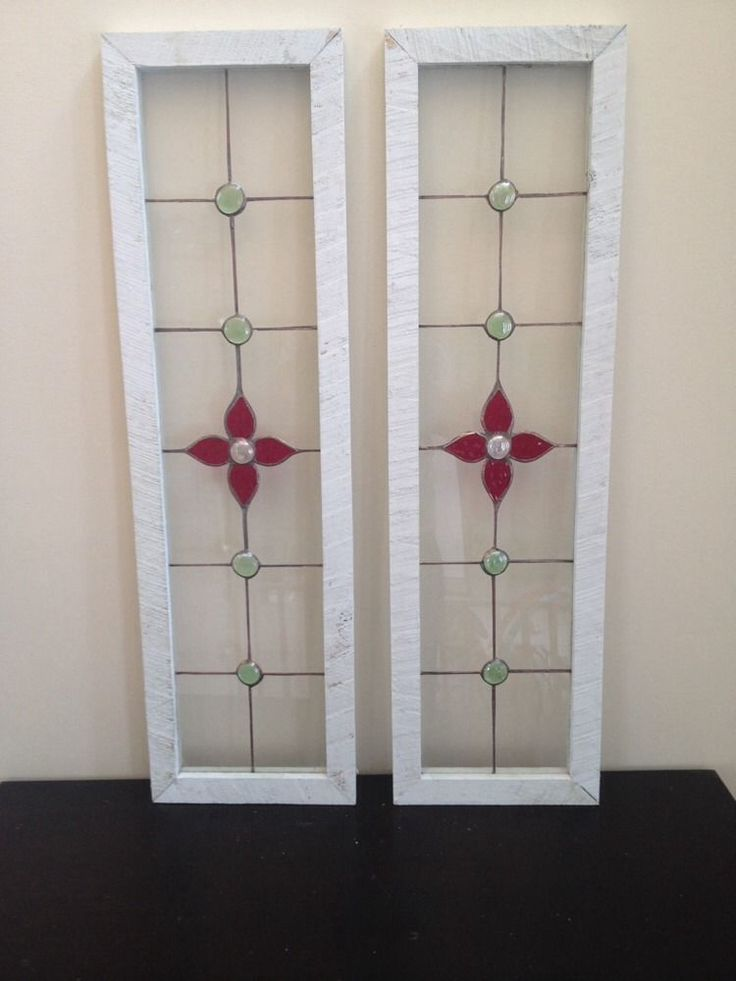 2 Long Stained Glass Windows with A Red Flower
