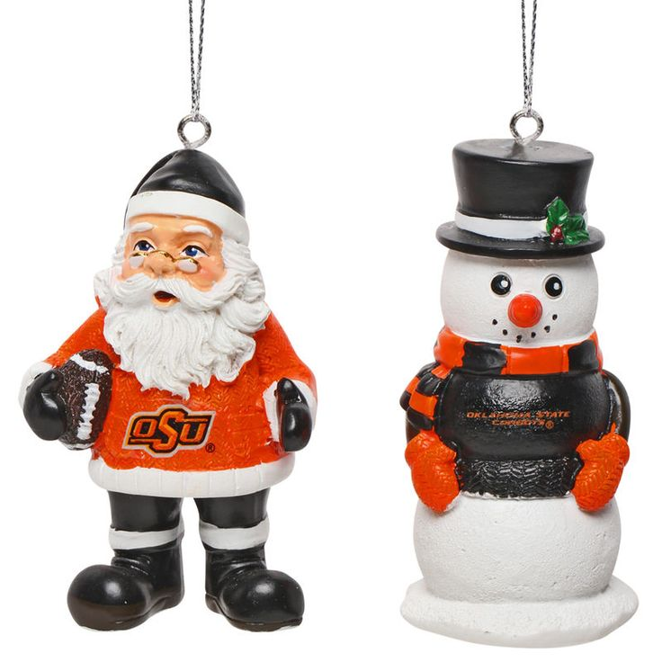 Oklahoma State Cowboys Saint Nick and Snowman 2-Pack Ornament Set