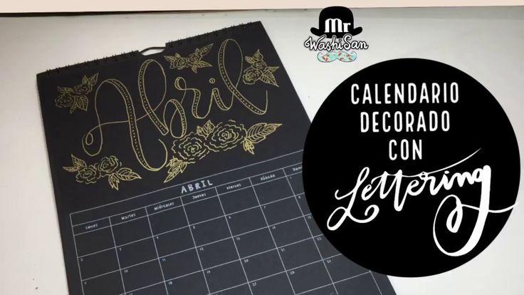 Calendario decorado con  lettering: abril Sakura pen-touch oro