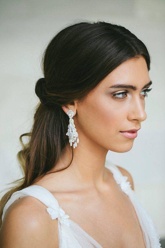 Pearl Wedding Chandelier Earrings Statement For