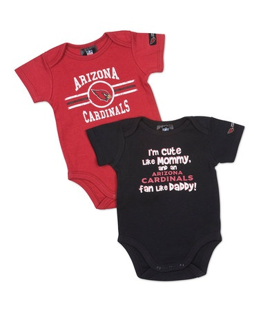 Prep for game time with your little one.  Take a look at this Red & Black Arizona Cardinals 'Fan' Bodysuit Set - Infant by Game On: NFL Apparel & Accessories on #zulily today!