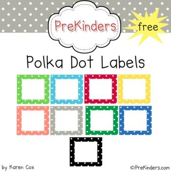 A set of FREE printable polka dot labels for your classroom. Labels come in 10 colors and includes: Stationery Borders, Name Tags, Desk Plates, Square Borders, Mini Labels, Mini Squares, Bold Black Dots! I just downloaded this and I LOVE it!