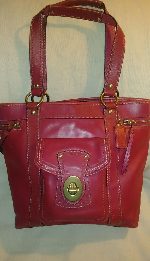 italy coach fuschia pink leather turnlock zip pocket shoulder tote bag  f12888 401a3 1a976 13caa32bfb3f0