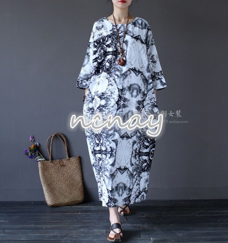 Womens Vintage Casual Loose Fit Dress Full Length Floral Print Cotton Maxi Dress