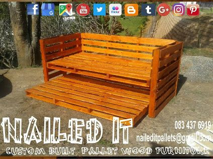 Pallet wood Single day bed. Mahogany finish. 2 Single bed bases with wheels on the bottom base. Can also be used as a couch. Perfect for small areas. #naileditpalletwoodfurniture #palletdaybed #palletwooddaybed #palletbed #custompalletfurniture #custompalletwoodfurnituredurban #palletfurnituredurban