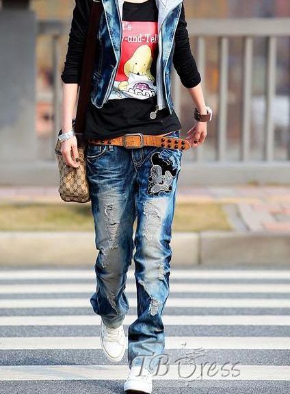 Fun Korean Style Hole Low Waist Jeans