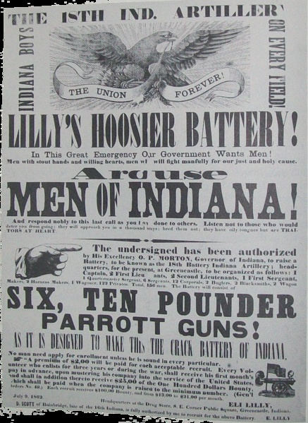 An American Civil War recruitment poster for the Lilly Hoosier Battery, posted by Colonel Eli Lilly in 1862