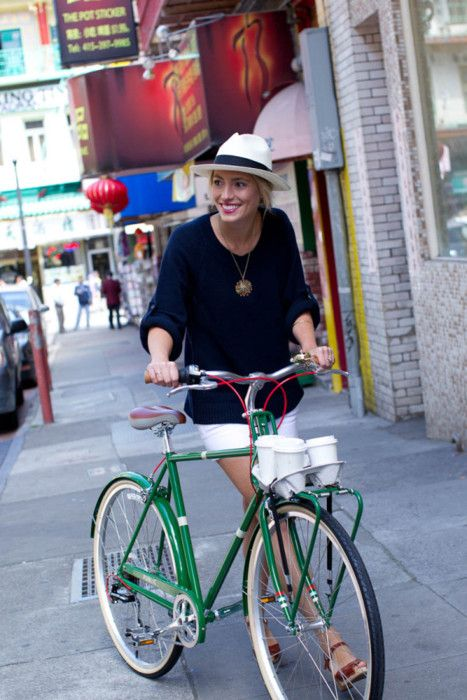 I LOVE everything about this! The bike, outfit, coffee,  the surroundings.