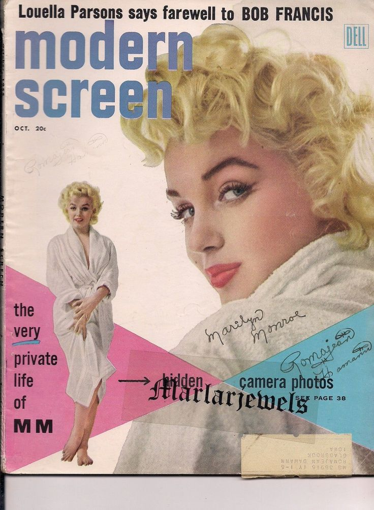 MODERN SCREEN 1955 MARILYN MONROE 7th Year Itch COLOR PIN~BOB FRANCIS~JAMES DEAN