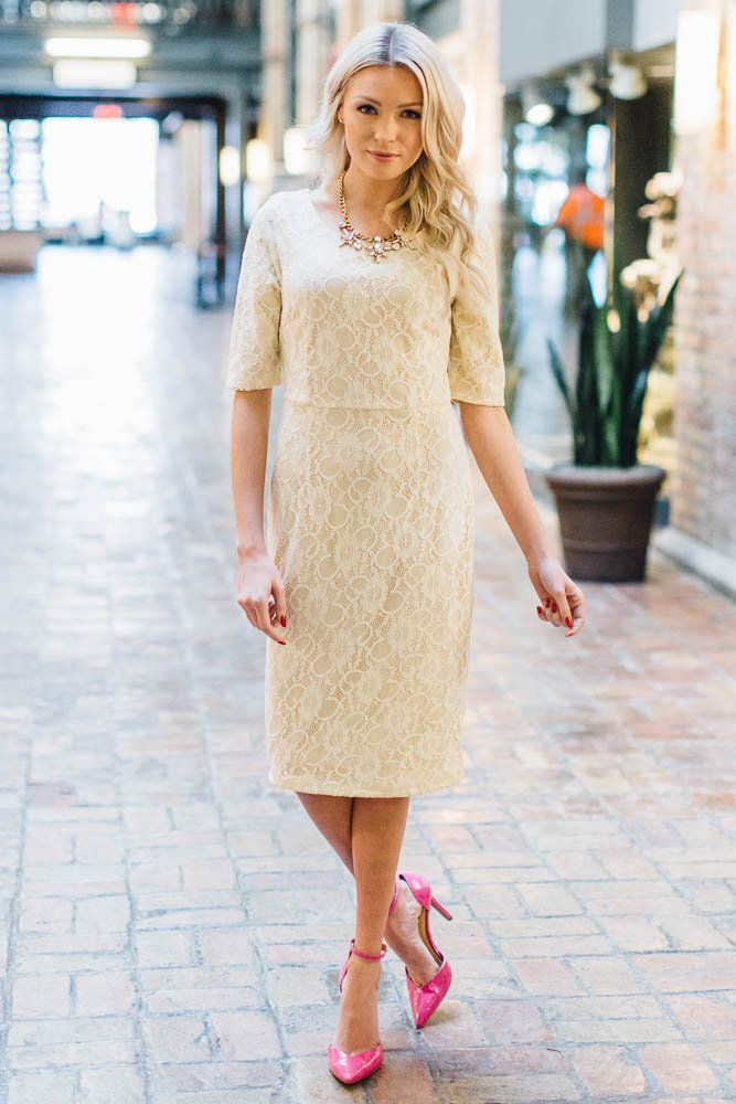 cbe8885809aed Mikarose June Modest Pencil Dress in Cream Lace S *** You can find more  details by visiting the image link. (This is an affiliate link) # ...
