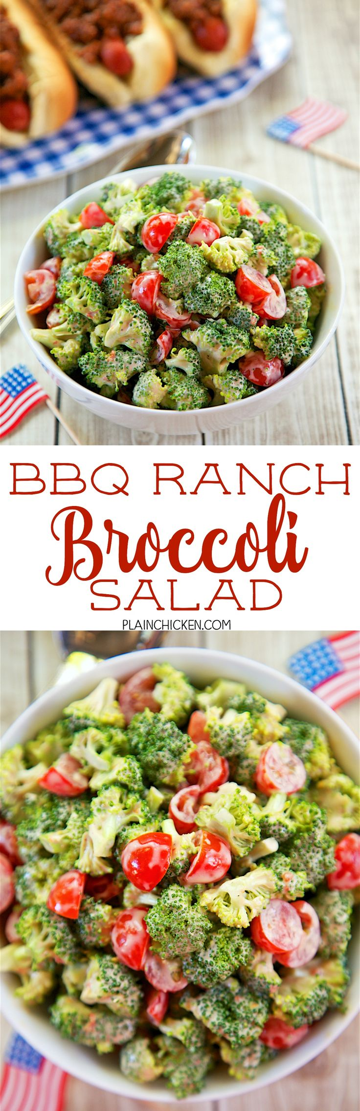 BBQ Ranch Broccoli Salad - only 3 ingredients! Everyone RAVES about this crazy…