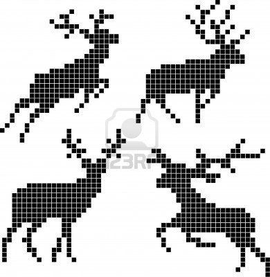 Pixel Silhouettes Of Deers Royalty Free Cliparts, Vectors, And Stock Illustration. Image 14742831.