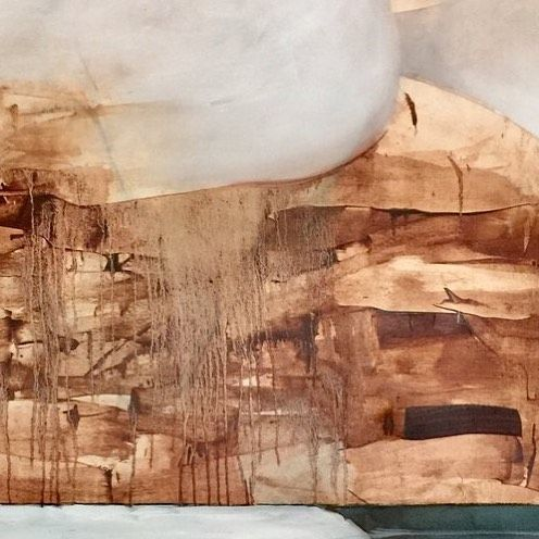 Submerged Reflection is an abstracted body of work in which J. Vehar Evanoff makes his process visible. His intricate method involves layering and removing paint with varying sizes of squeegees. (Detail photo of Reflection I) #art #localartist #artoftheday http://ift.tt/2rauJRe