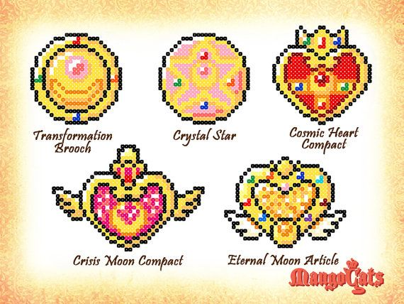 Sailor Moon Transformation Brooch made with mini hama beads (Crystal Star, Cosmic Heart Compact, Crisis Moon Compact, Eternal Moon Article) by MangoCats