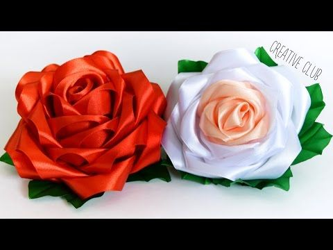 Ribbon flowers  Цветы из лент  мастер класс Роза Канзаши  DIY  Rose kanzashi - YouTube