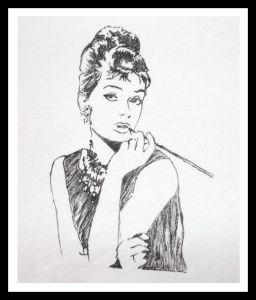 Grafika czarno-biała: Audrey Hepburn