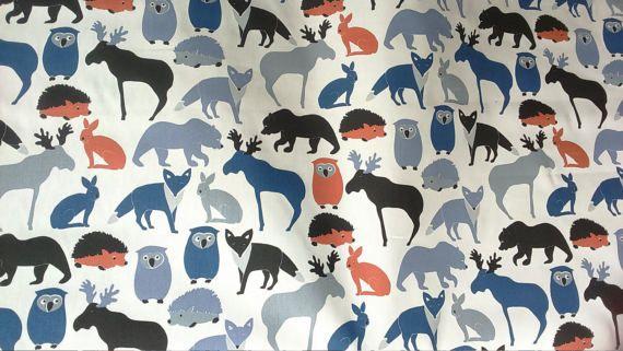 Rideau panneau blanc bleu animaux sauvages orange enfants