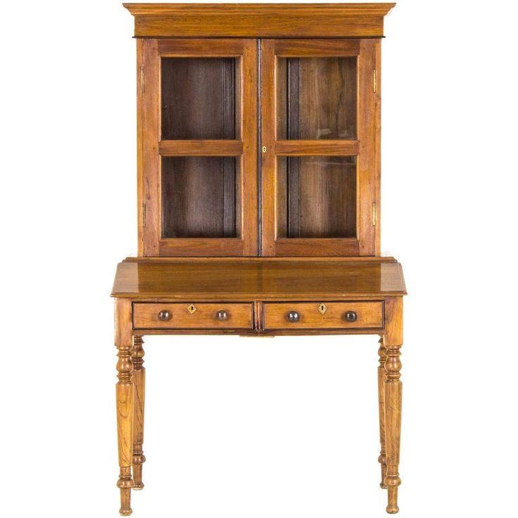 Antique Cabinet Victorian Bookcase Walnut Slant Front Desk, Scotland | 1stdibs.com