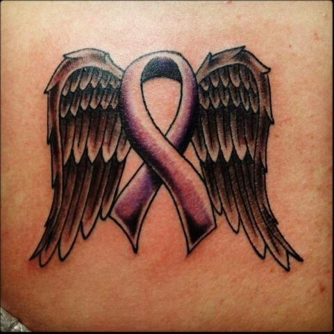Ok I want this on the inside of my wrist. Purple ribbon for mps awareness and angel wings