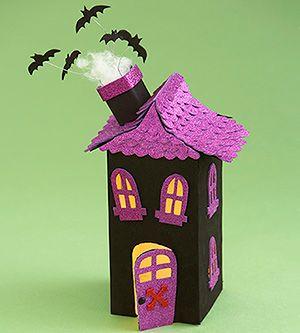 Haunted House Luminary: milk carton, black crafts foam, scalloped edge glitter sticker paper.