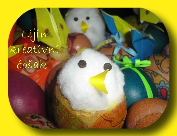 egg shell + cotton wool... eyes from pepper seed, beak from yellow paper, taraaaa- easter chicken (((( :