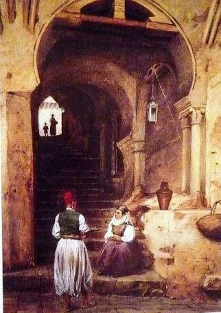 Algérie - Peintre Italien Giovanni Lavezzari (1817-1881),huile sur toile, Titre :Devant la rue du diable à la Casbah d'Alger