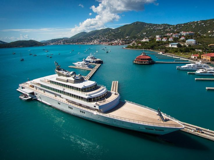 $590 MILLION: David Geffen, a billionaire entertainment mogul, owns the Rising Sun. but he originally shared it with Larry Ellison, the founder of Oracle. The 454-foot superyacht comes with a basketball court and can fit 18 guests. In April, Geffen hosted the Obamas on the megayacht.