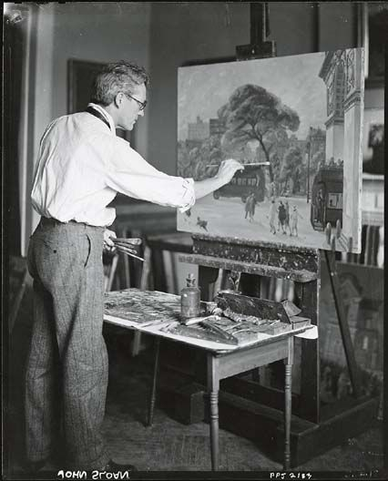 'Ashcan school' painter John Sloan in his studio.