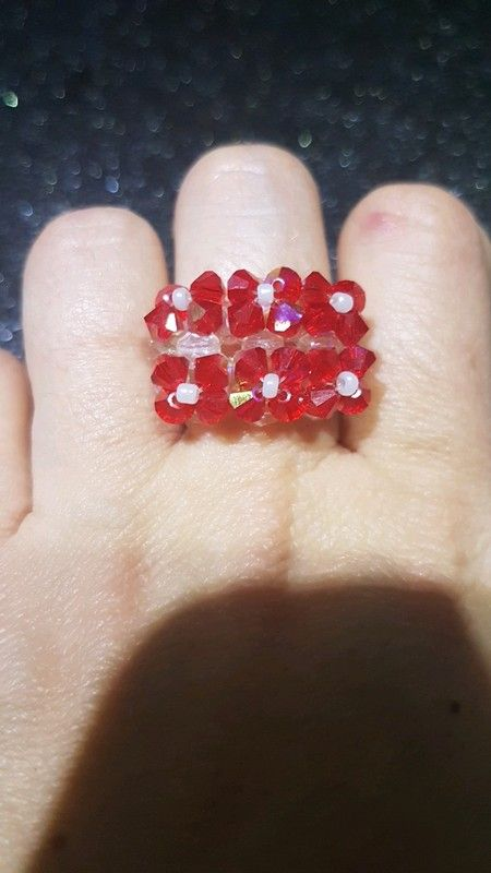 d8fd3730baa Bague en perle toupie et facette en cristal de Swarovski