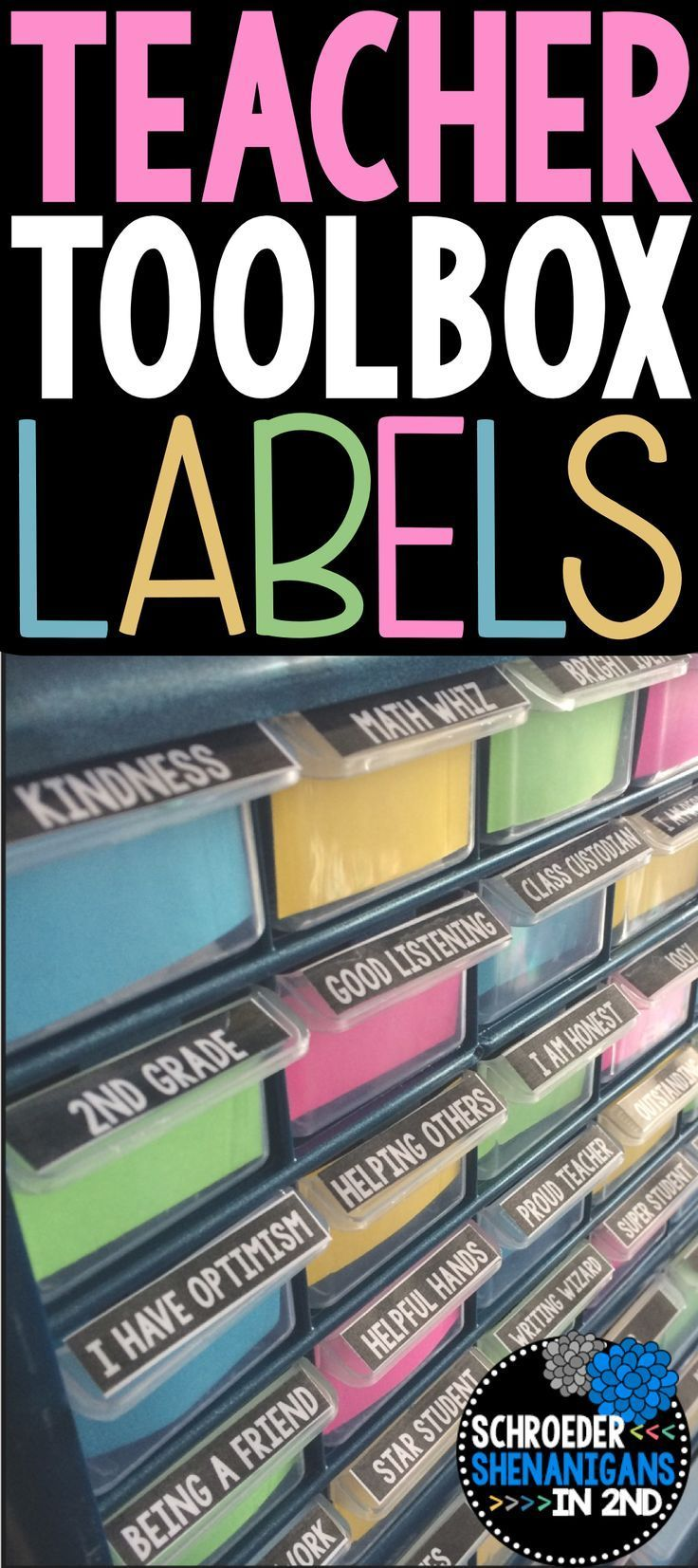 These teacher toolbox labels are perfect for labeling the small and larger drawers of any toolbox organizer that you can pick up from the hardware store. I am using my editable teacher toolbox labels to label my drawers that I will fill with brag tags as well as teacher supplies - check out the attached blog post written by Lucky Little Learners about BRAG TAGS which are what are hiding in these brightly labeled drawers!