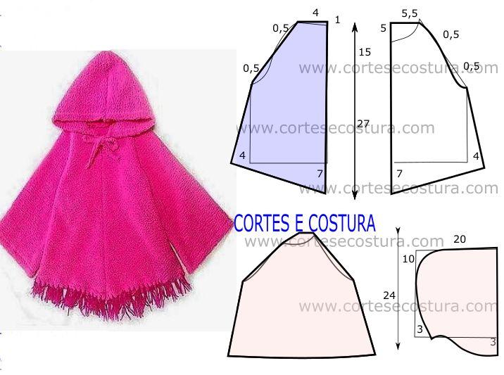 Modelo de capa de criança com capuz fácil de cortar e costurar, muito útil. Este modelo de capa é um excelente agasalho de inverno para as crianças.