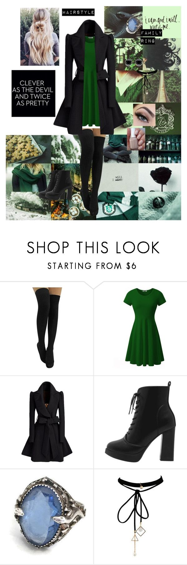 A Slytherin Going Out by rose-reaper on Polyvore featuring WithChic and Thomas Sabo