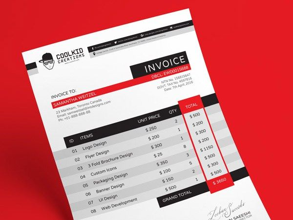 Free Invoice Design Template (AI & EPS) - http://freebiesjedi.com/2015/12/free-invoice-design-template/