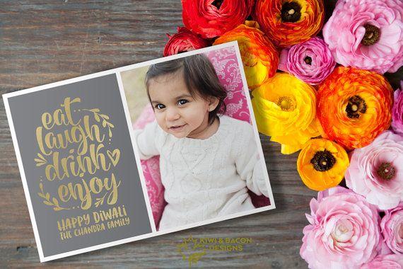Diwali Photo Greeting Card Printable  Eat Laugh Drink by KiwiAndBacon #deepavali #greetings #photo #card #picture